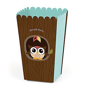 Owl - Look Whooo's Having A Party - Personalized Party Popcorn Favor Treat Boxes