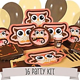 Owl Girl - Look Whooo's Having A Baby - 16 Person Baby Shower Kit