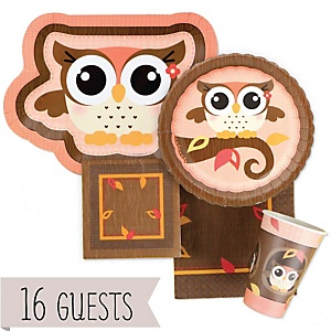 Owl Girl - Look Whooo's Having A Baby  - Baby Shower Tableware Bundle for 16 Guests