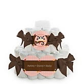 Owl Girl - Look Whooo's Having A Baby - 2 Tier Personalized Square Baby Shower Diaper Cake