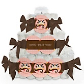 Owl Girl - Look Whooo's Having A Baby - 3 Tier Personalized Square Baby Shower Diaper Cake