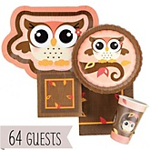 Owl Girl - Look Whooo's Having A Baby - Baby Shower Tableware Bundle for 64 Guests