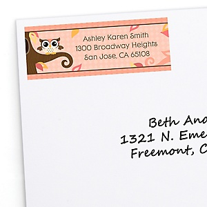 Owl Girl - Look Whooo's Having A Baby - Personalized Baby Shower Return Address Labels - 30 ct