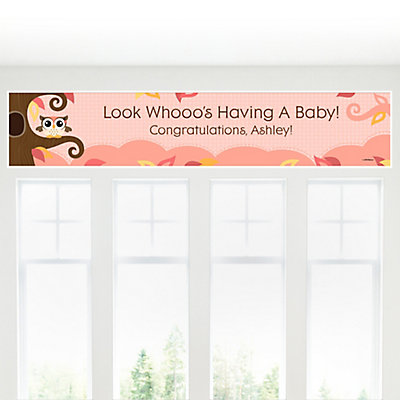 Owl girl look whooo 39 s having a baby personalized baby Baby shower banners