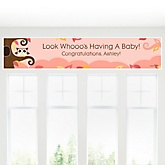 Owl Girl - Look Whooo's Having A Baby - Personalized Baby Shower Banner