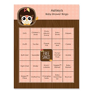 Owl Girl - Look Whooo's Having A Baby - Bingo Personalized Baby Shower Games - 16 Count