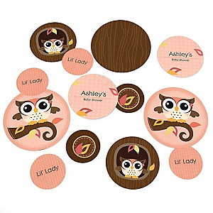 Owl Girl - Look Whooo's Having A Baby - Personalized Baby Shower Table Confetti - 27 ct
