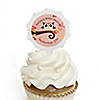 Owl Girl - Look Whooo's Having A Baby - Personalized Party Cupcake Picks and Sticker Kit - 12 ct