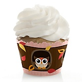 Owl Girl - Look Whooo's Having A Baby - Baby Shower Cupcake Wrappers