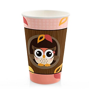 Owl Girl - Look Whooo's Having A Baby - Baby Shower Hot/Cold Cups - 8 ct
