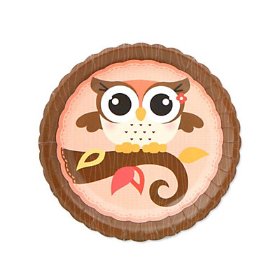 Owl Girl - Look Whooo's Having A Baby - Dessert Plates - 8 Qty/Pack - Baby Shower Tableware
