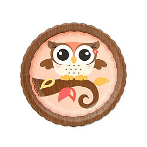 Owl Girl - Look Whooo's Having A Baby - Baby Shower Dessert Plates - 8 Pack