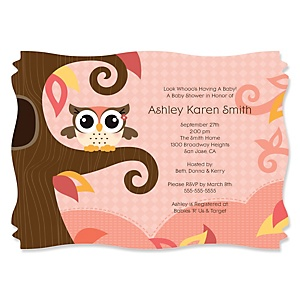Owl Girl - Look Whooo's Having A Baby - Baby Shower Invitations