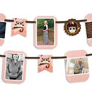 Owl Girl - Look Whooo's Having A Baby - Baby Shower Photo Garland Banners