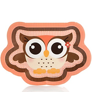 Owl Girl - Look Whooo's Having A Baby - Baby Shower Dinner Plates - 8 Pack