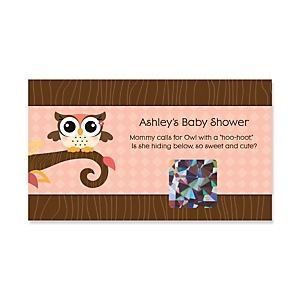 Owl Girl - Look Whooo's Having A Baby - Personalized Baby Shower Game Scratch Off Cards - 22 ct