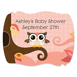 Owl Girl - Look Whooo's Having A Baby - Personalized Baby Shower Squiggle Sticker Labels - 16 Count