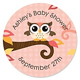 Owl Girl - Look Whooo's Having A Baby - Personalized Baby Shower Round Sticker Labels - 24 Count