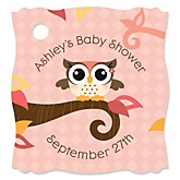 Owl Girl - Look Whooo's Having A Baby - Personalized Baby Shower Tags - 20 Count