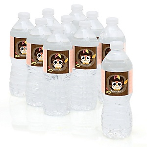 Owl Girl - Look Whooo's Having A Baby - Baby Shower Personalized Water Bottle Sticker Labels - 10 Count
