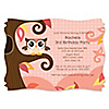 Owl Girl - Look Whooo's Having A Birthday - Personalized Birthday Party Invitations