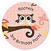 Owl Girl - Look Whooo's Having A Birthday - Personalized Birthday Party Sticker Labels - 24 ct