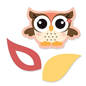 Owl Girl - Look Whooo's Having A Baby            - Shaped Baby Shower Paper Cut-Outs - 24 ct