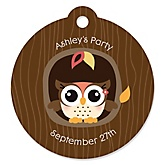 Owl Girl - Look Whooo's Having A Baby - Personalized Baby Shower Round Tags - 20 Count