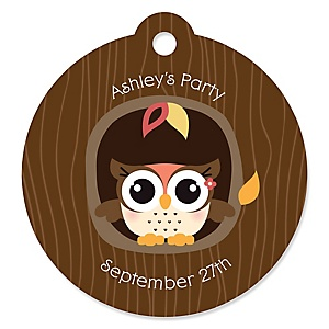 Owl Girl - Look Whooo's Having A Party - Round Personalized Party Tags - 20 ct
