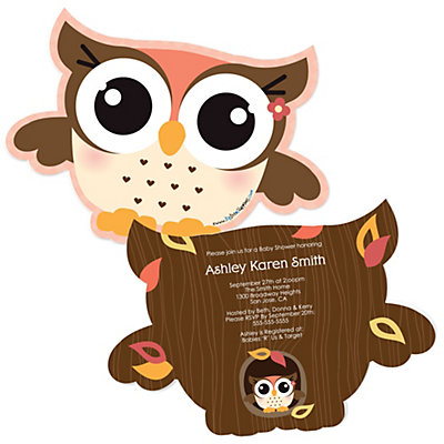 Owl Girl - Look Whooo's Having A Baby - Shaped Baby Shower Invitations Baby Shower Party Supplies