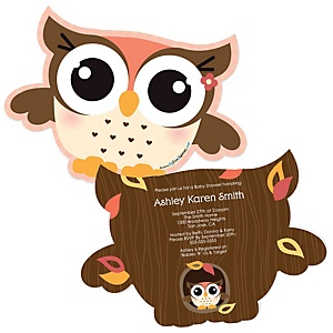 Owl Girl - Look Whooo's Having A Baby - Shaped Baby Shower Invitations