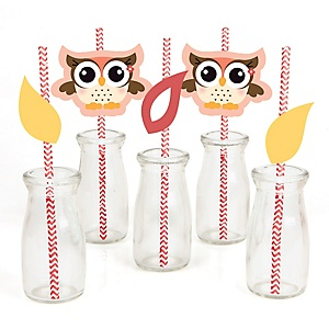 Owl Girl - Paper Straw Decor - Baby Shower or Birthday Party Striped Decorative Straws - Set of 24