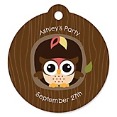 Owl - Look Whooo's Having A Baby - Personalized Baby Shower Round Tags - 20 Count