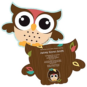 Owl - Look Whooo's Having A Baby - Shaped Baby Shower Invitations