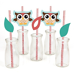 Owl - Paper Straw Decor - Baby Shower or Birthday Party Striped Decorative Straws - Set of 24