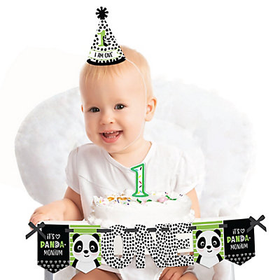 Party Like a Panda Bear - 1st Birthday Girl Smash Cake Decorating Kit - High Chair Decorations