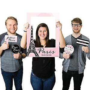Paris, Ooh La La - Personalized Paris Themed Party Photo Booth Picture Frame & Props - Printed on Sturdy Plastic Material