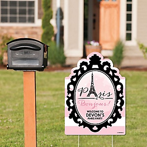 Paris, Ooh La La – Party Decorations - Paris Themed Birthday Party or Baby Shower Welcome Yard Sign