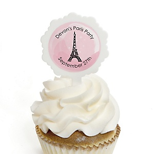 Paris, Ooh La La - Paris Themed - 12 Cupcake Picks & 24 Personalized Stickers - Baby Shower Cupcake Toppers