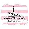 Paris, Ooh La La - Personalized Paris Themed Party Squiggle Stickers - 16 ct