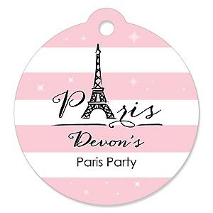 Paris, Ooh La La - Round Personalized Paris Themed Party Tags - 20 ct