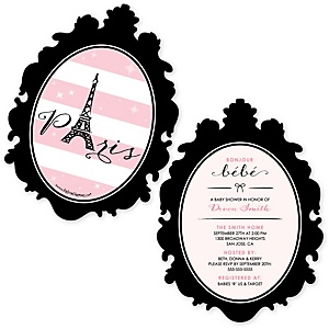 Paris, Ooh La La - Shaped Paris Themed Baby Shower Invitations