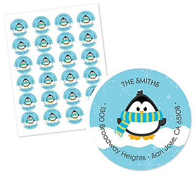 Holly Jolly Penguin - Round Personalized Christmas Party Return Address Labels - Set of 24