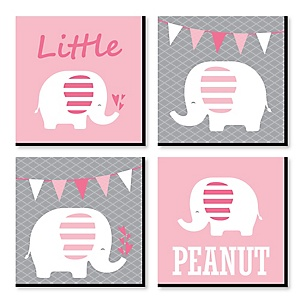 "Pink Baby Elephant - Nursery Décor - 11"" x 11"" Nursery Wall Art - Set of 4 Prints for Baby's Room"