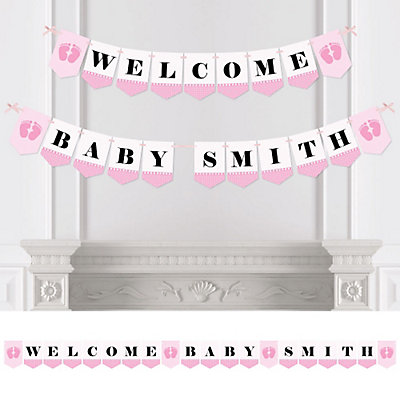 Baby feet pink personalized baby shower bunting banner for Baby feet decoration