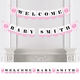 Baby Feet Pink - Personalized Baby Shower Bunting Banner