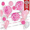 Pink & White - Baby Shower Décor Kit