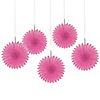 Pink - Baby Shower Mini Paper Rosette Fans - 5 ct