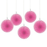 Pink Mini Paper Rosette Fans - Baby Shower Decorations - Set of 5