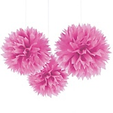 Pink Tissue Paper Pom Poms - Baby Shower Decorations - Set of 3
